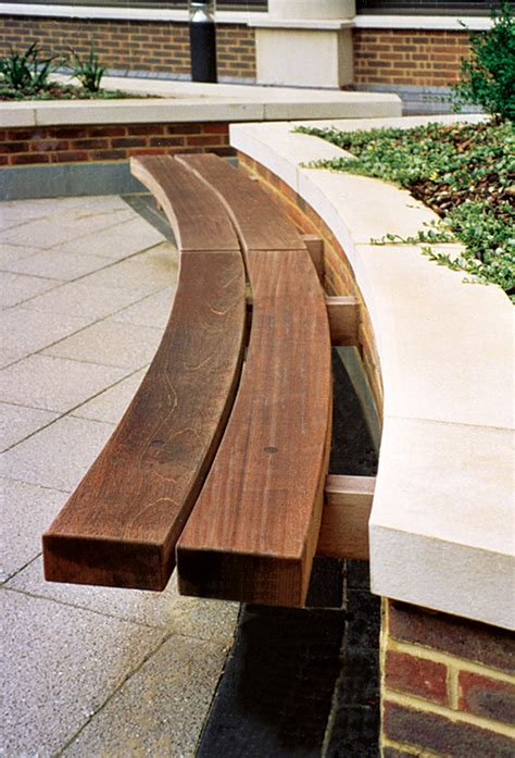 Landscape Timber Outdoor Furniture Hardwood Timber Seat Type 4 Wall Seat Outdoor Seating By