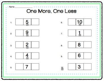 One More One Less Worksheets by Math One More One Less Activity
