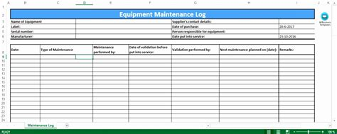 machine maintenance log template 6 preventive maintenance template excel exceltemplates