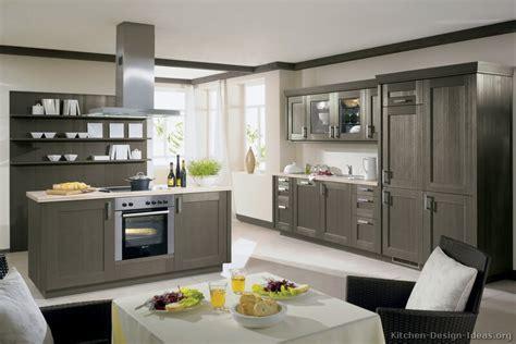 Wonderful Modern Gray Kitchen Cabinets #3: Kitchen-cabinets-modern-gray-002-A023a-wood-shaker-island-hood-favorite.jpg