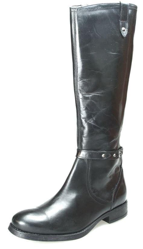 real leather knee high black or brown block heel