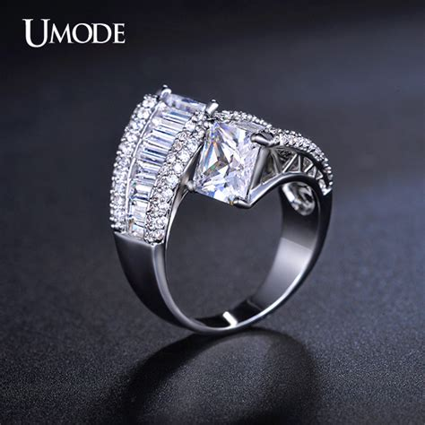 umode white gold plated two engagement rings for