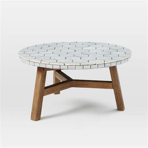 Outdoor Mosaic Coffee Table Mosaic Tiled Coffee Table Gray Spider Web Top West Elm