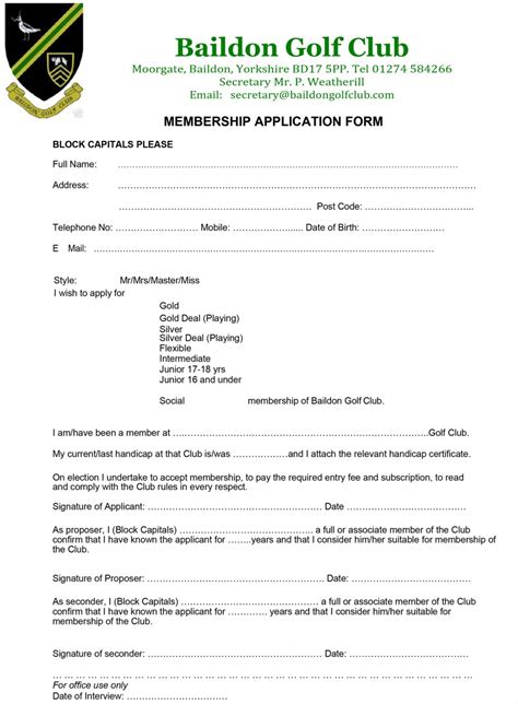 Country Club Membership Card Template by Membership Application Form Baildon Golf Club West