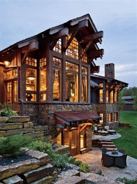 i love rustic cabins with large windows dream home