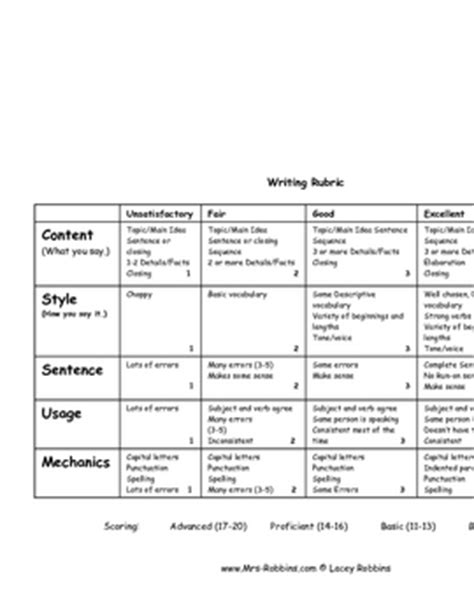 Rubric For Research Paper 2nd Grade by Writing Rubric 2nd Grade By Mrs Robbins Teachers Pay Teachers