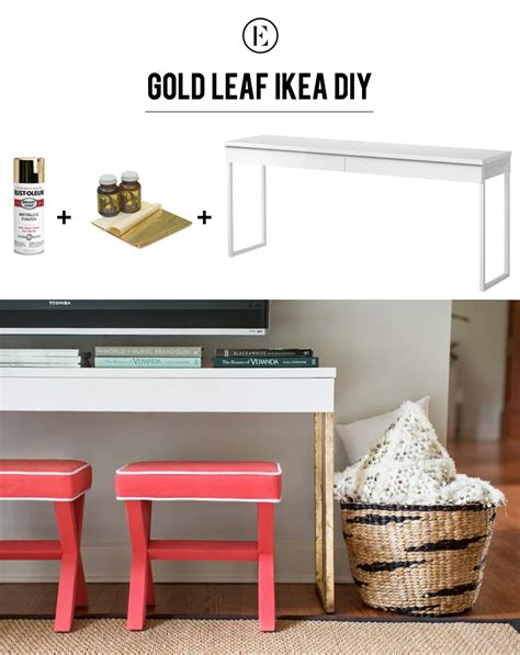ikea table diy diy gold leaf ikea console table the everygirl