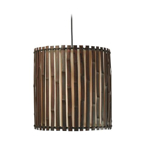 Bamboo Pendant Light Drum Pendant Light With Brown Tones Bamboo Shade In Split Bamboo Finish 92034brz