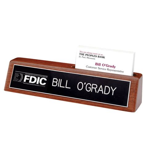 Desk Nameplate With Business Card Holder fdic desk sign with business card holder black nameplate with white letters 1 line