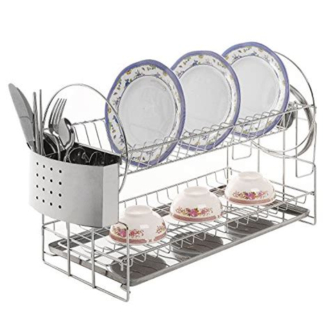 F14 Dish Rack 2 Tier Stainless Steel Dish Drainer Rak Piring 2 Tingk stainless steel 2 tier kitchen countertop dish rack plate