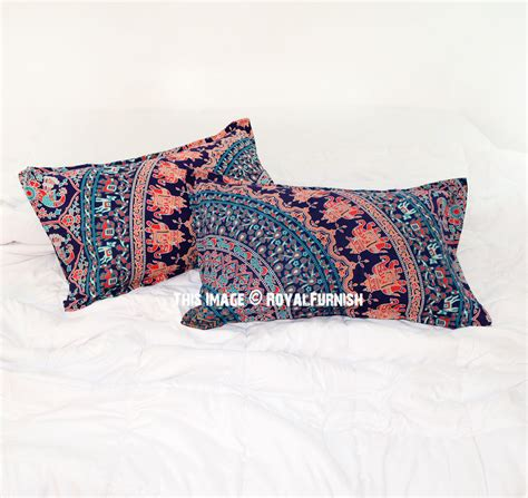 blue bed pillows decorative blue elephant birds bohemian mandala bed