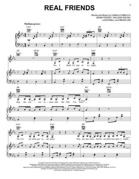 Camila Cabello   Real Friends sheet music