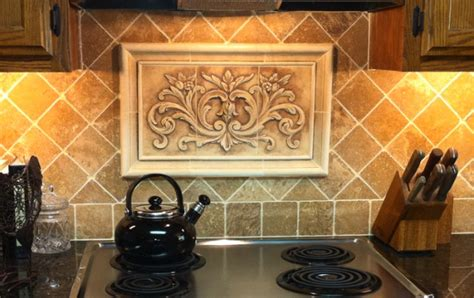 decorative tiles for kitchen backsplash kitchen backsplash insert using our hand pressed floral tile surrounded by plain frame liners