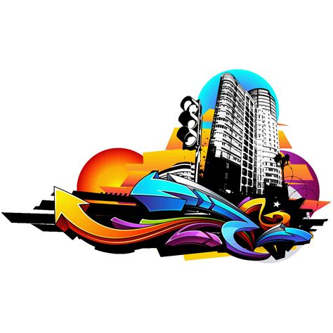 sticker graffiti urbain ville au coucher du soleil