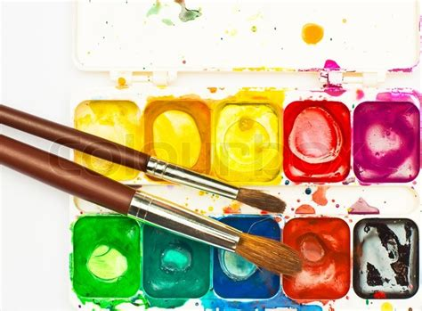 water color paints used watercolor paint box top view stock photo