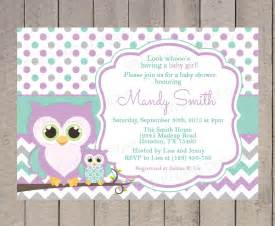 owl themed baby shower invitation template owls baby shower invitation purple teal and grey chevron
