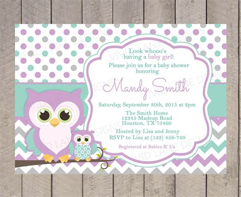 teal and purple bathroom owls baby shower invitation purple teal and by