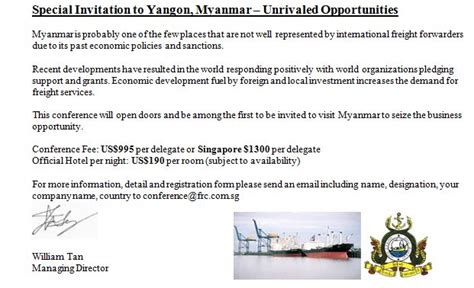 Introduction Letter Freight Forwarding Company invitation letter myanmar images invitation sle and