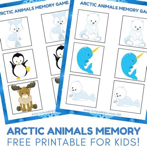 printable memory games for kindergarten arctic animals memory game free preschool printable for