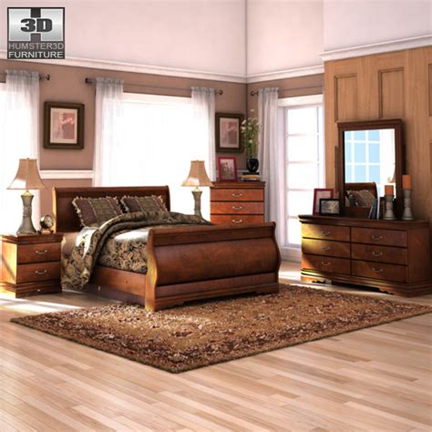 wilmington sleigh bedroom set 3d model humster3d