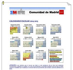 Calendario Escolar Madrid Capital 2016 Calendario Escolar 2014 2015 De La Comunidad De Madrid