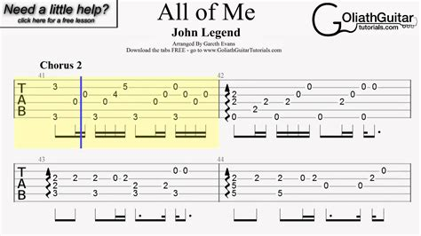 tutorial fingerstyle all of me guitar tabs on screen all of me john legend