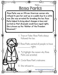 rosa parks biography lesson plan rosa parks worksheet this activity is great for students
