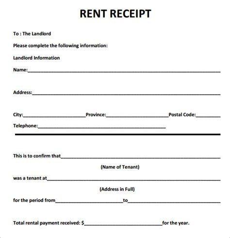free printable rent receipts templates 6 best images of printable rent receipt template free