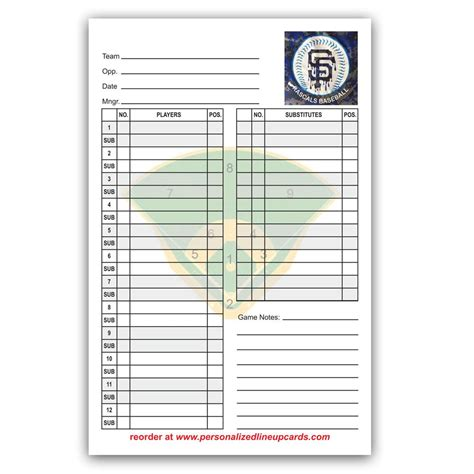 personalized baseball amp softball lineup amp dugout cards