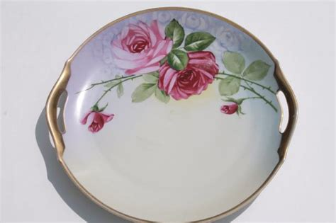 An Antique Notebook Cabbages Roses by Antique Vintage China Plates W Painted Roses Shabby