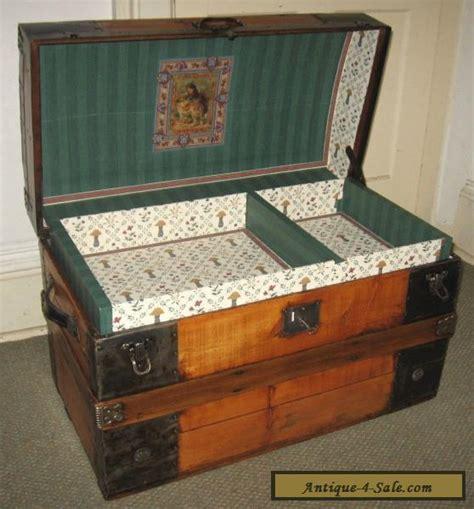 antique steamer trunk vintage rustic wooden flat