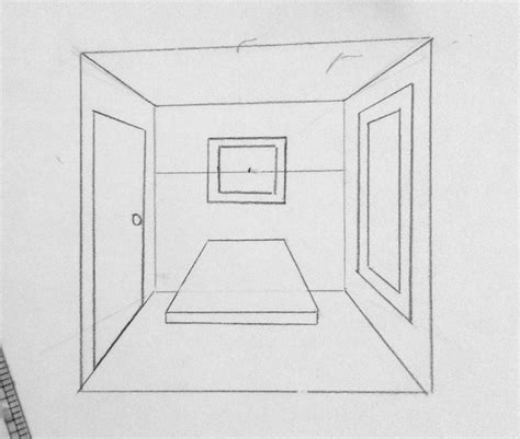1 Point Perspective Room - 1 point perspective quot room with table quot inside the outline
