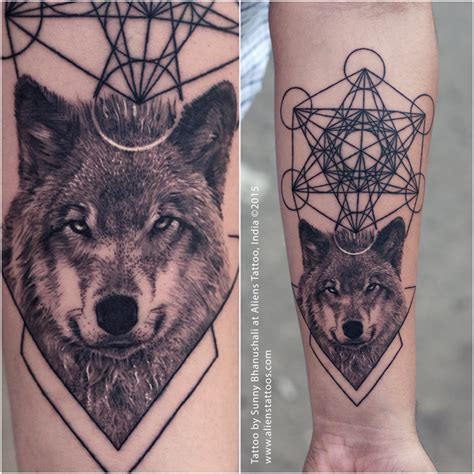 tattoo fixers wolf wolf tattoo with metatron cubes cool ink pinterest