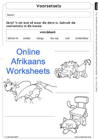 grade 3 afrikaans worksheets voorsetsels for more