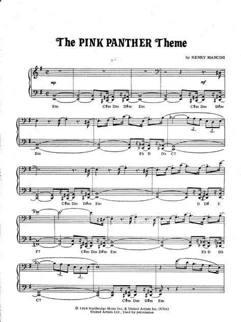 tutorial piano pink panther the pink panther theme piano