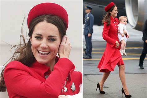 Duchess wears striking red skirt suit by Italian designer