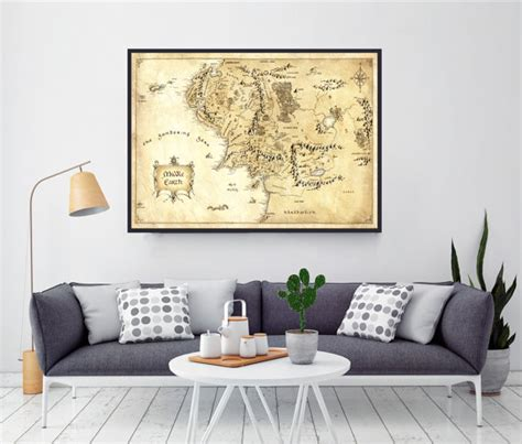 lord of the rings middle earth map the hobbit home decor