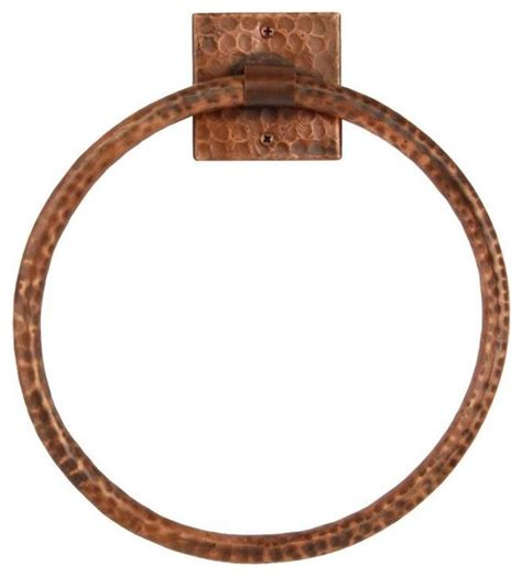 7 quot hammered copper towel ring contemporary