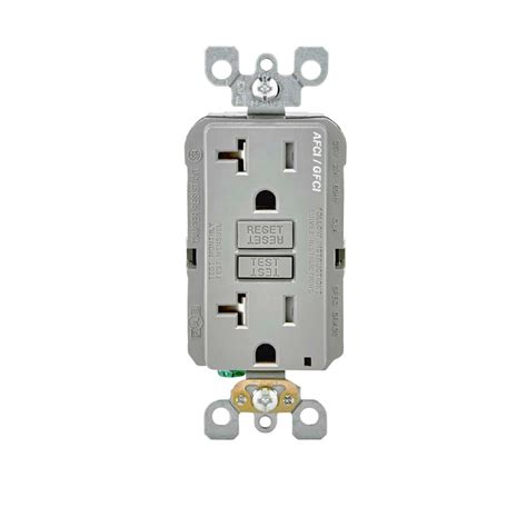 leviton receptacle leviton 20 125 volt afci gfci dual function outlet gray agtr2 gy the home depot