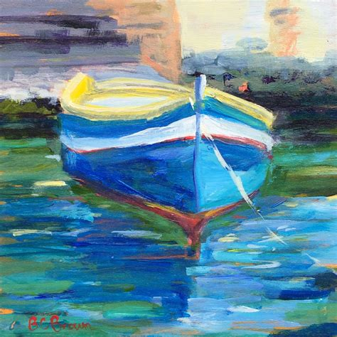 fishing boat art work beth carrington brown paintings of malta and mediterranean art
