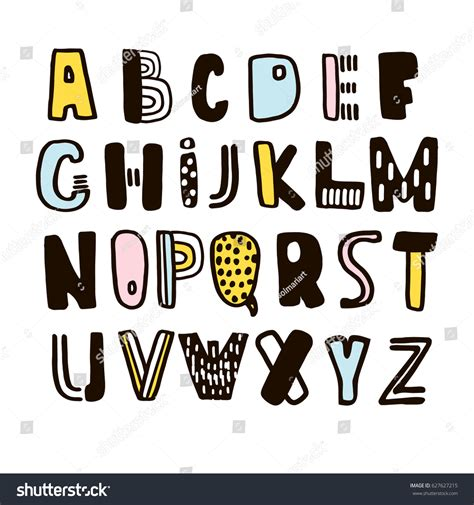 Handcrafted Font - childish made ink alphabetvector stock vector