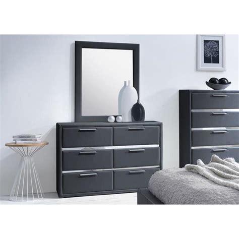 commode simili noir 6 tiroirs avec miroir exia achat