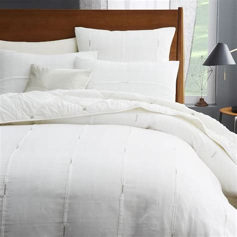 west elm bedding silver stitch pleat duvet cover west elm