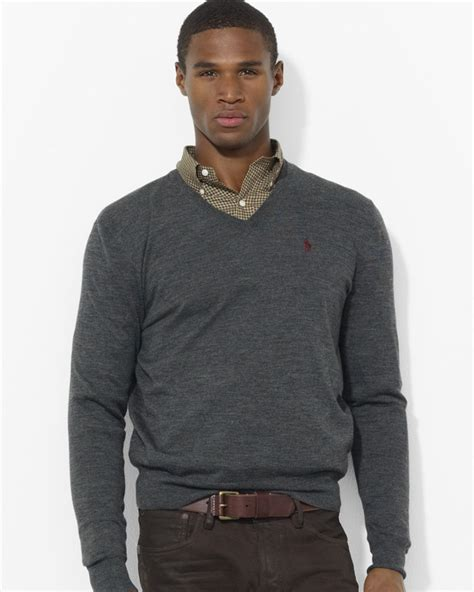 Basic Sweater Murah Polos lyst ralph polo merino wool vneck sweater in gray for