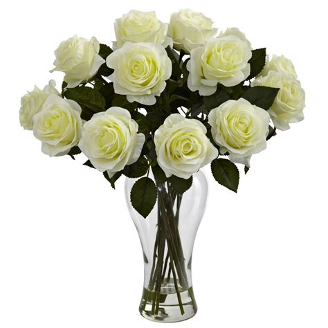 White Roses In A Vase by Blooming White Roses Silk Flower Arrangement With Vase Artificial Flowers Silk Flowers