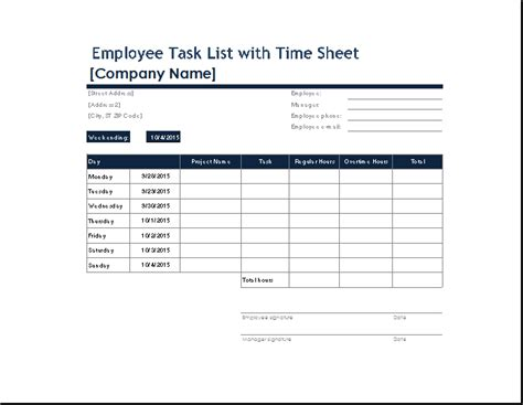 task form template ms excel employee task list with time sheet word