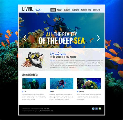 html 5 templates free diving club free html5 template html5 mania