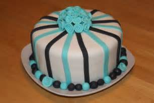 How To Do Birthday Decoration At Home Blue And Black Striped Birthday Fondant Cake Penny S