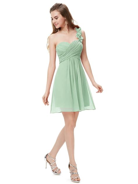 Bridesmaid Dresses by One Shoulder Flowers Padded Ruffles Bridesmaid Dress