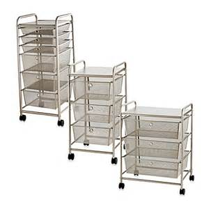 rolling metal cart with drawers bed bath beyond